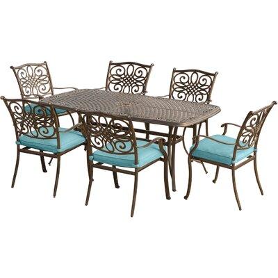 Swatzell 7 Piece Dining Set with Cushion Cushion Color: Blue
