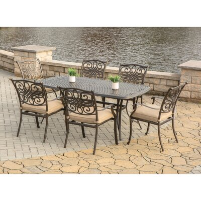 Barryton 7 Piece Oil Rubbed Bronze Dining Set with Cushion Cushion Color: Natural Oat