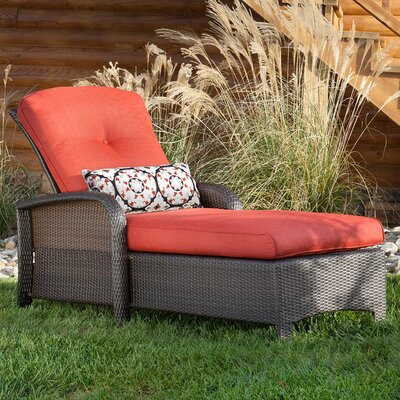Billington Chaise Lounge with Cushion Fabric: Crimson Red