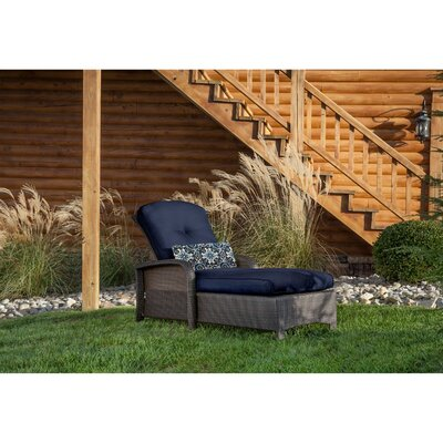Billington Chaise Lounge with Cushion Fabric: Navy Blue