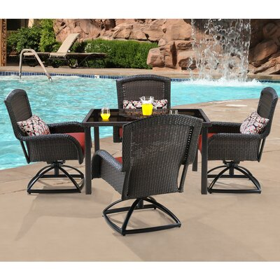 Billington 5 Piece Swivel Dining Set with Cushions