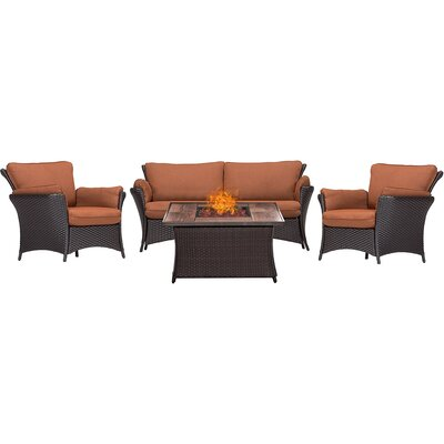 Billington 4 Piece Fire Pit Lounge Seating Group with Cushions