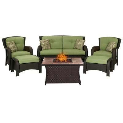 Billington 6 Piece Fire Pit Lounge Seating Group with Cushions Fabric: Green