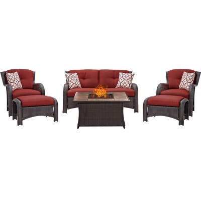 Billington 6 Piece Fire Pit Lounge Seating Group with Cushions Fabric: Red