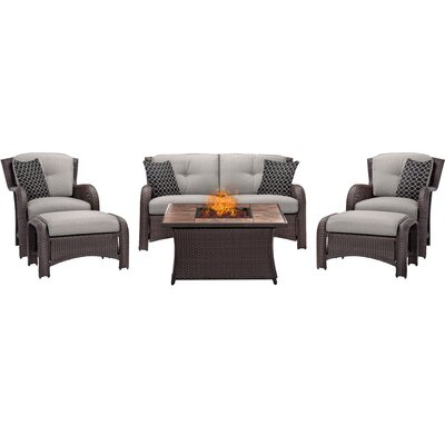 Billington 6 Piece Fire Pit Lounge Seating Group with Cushions Fabric: Silver
