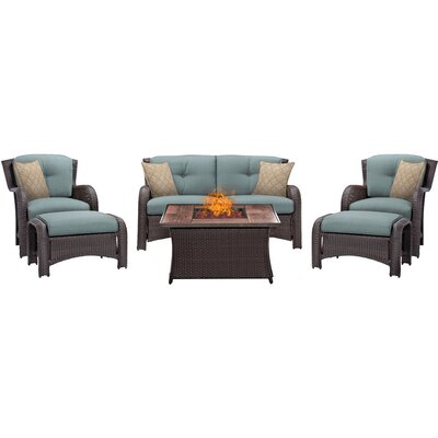 Billington 6 Piece Fire Pit Lounge Seating Group with Cushions Fabric: Blue