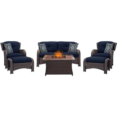 Billington 6 Piece Fire Pit Lounge Seating Group with Cushions Fabric: Navy