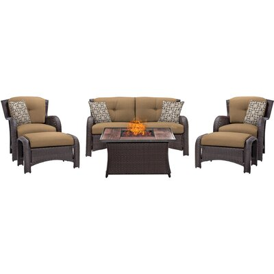 Billington 6 Piece Fire Pit Lounge Seating Group with Cushions Fabric: Tan