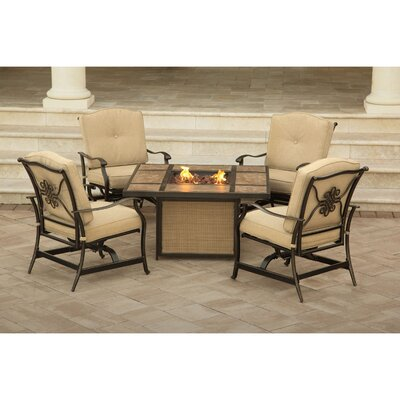 Barryton 5 Piece Fire Pit Seating Group with Cushions
