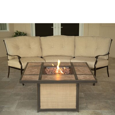 Barryton 2 Piece Seating Set with Tile-Top Fire Pit Lounge Seating Group with Cushion