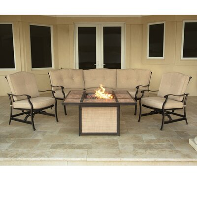 Swatzell 4 Piece Fire Pit Set with Cushions