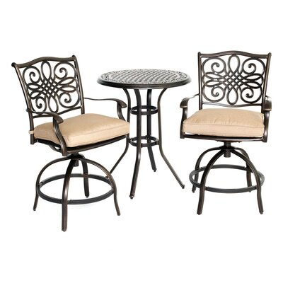 Barryton 3 Piece Natural Oat Bistro Set with Cushions