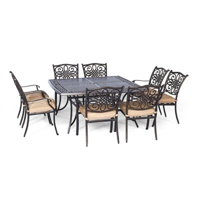 Swatzell 9 Piece Dining Set with Cushion