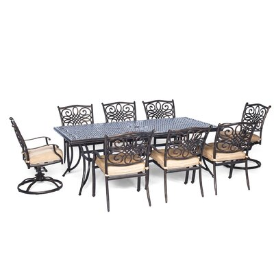 Barryton 9 Piece Dining Set with Natural Oat Cushion