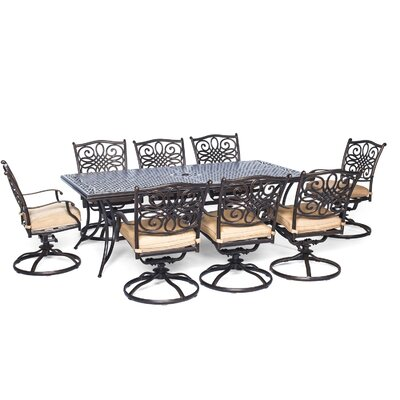 Lauritsen 9 Piece Rectangular Dining Set with Cushion