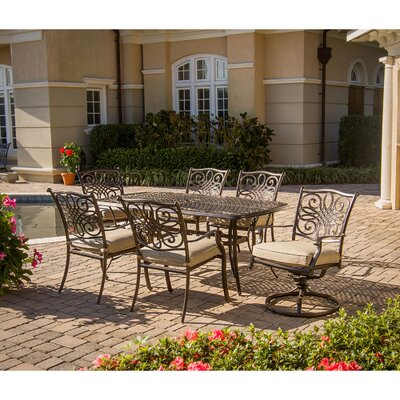 Barryton 7 Piece Oil Rubbed Bronze Dining Set with Cushions