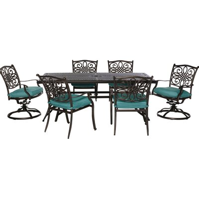 Barryton 7 Piece Dining Set with Blue Cushions