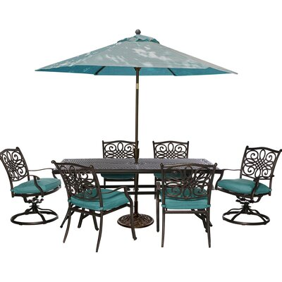 Barryton 7 Piece Dining Set with Foam Cushions