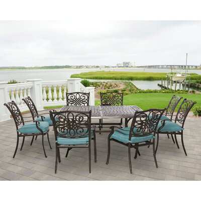 Barryton 9 Piece Metal and Aluminum Dining Set
