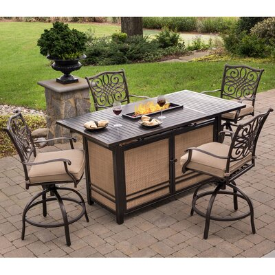 Swatzell 5 Piece High Dining Bar Set Finish: Tan