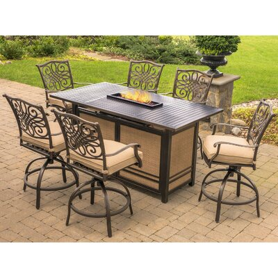 Swatzell 7 Piece High Dining Bar Set Finish: Tan