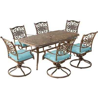 Barryton 7 Piece Rectangular Dining Set with Ocean Blue Cushions