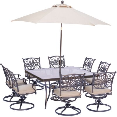 Barryton 9 Piece Square Dining Set with Natural Oat Cushions