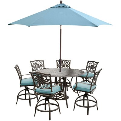 Barryton 7 Piece Metal Bar Set with Cushions Cushion Color: Blue