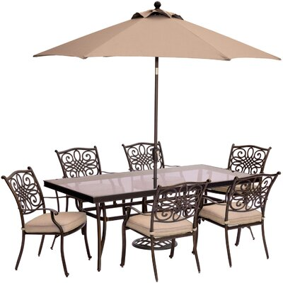 Barryton 7 Piece Golden Bronze Dining Set with Cushions Cushion Color: Natural Oat