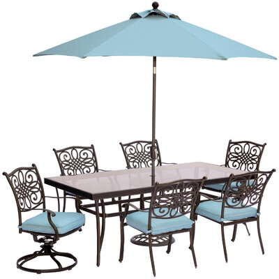 Barryton 7 Piece Bold & Eclectic Modern Dining Set with Cushions Cushion Color: Ocean Blue