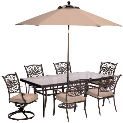 Barryton 7 Piece Bold & Eclectic Modern Dining Set with Cushions Cushion Color: Natural Oat