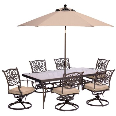 Barryton 7 Piece Dining Set with Cushions and  Table Umbrella Cushion Color: Natural Oat