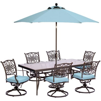 Barryton 7 Piece Dining Set with Cushions and  Table Umbrella Cushion Color: Blue