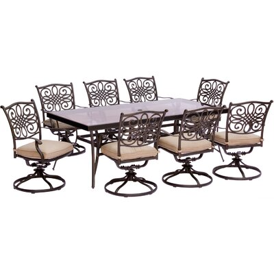Barryton 9 Piece Bold & Eclectic Modern Dining Set with Cushions Cushion Color: Natural Oat