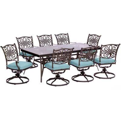 Barryton 9 Piece Bold & Eclectic Modern Dining Set with Cushions Cushion Color: Ocean Blue