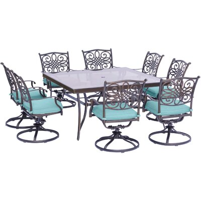 Barryton 9 Piece Square Oil Rubbed Bronze Dining Set with Cushions Cushion Color: Ocean Blue