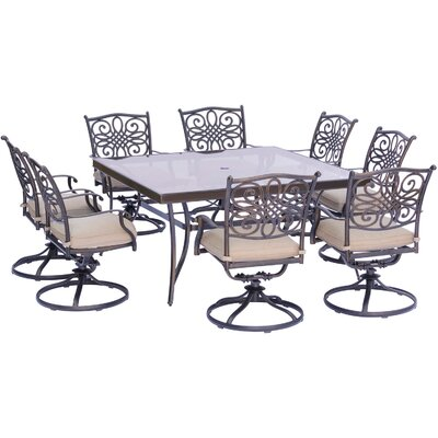 Barryton 9 Piece Square Oil Rubbed Bronze Dining Set with Cushions Cushion Color: Natural Oat