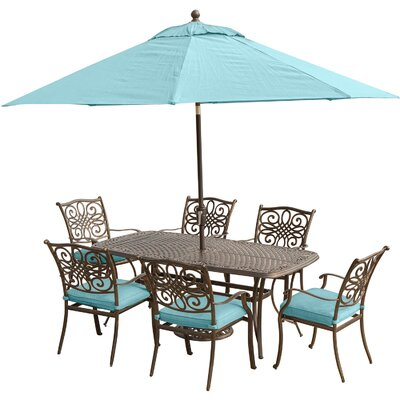Barryton 7 Piece Rectangular Dining Set with Cushions Cushion Color: Ocean Blue
