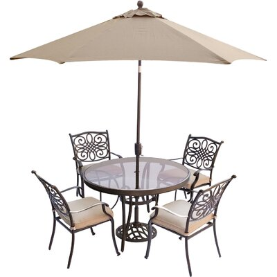 Barryton 5 Piece Aluminum Dining Set with Cushions Cushion Color: Natural Oat