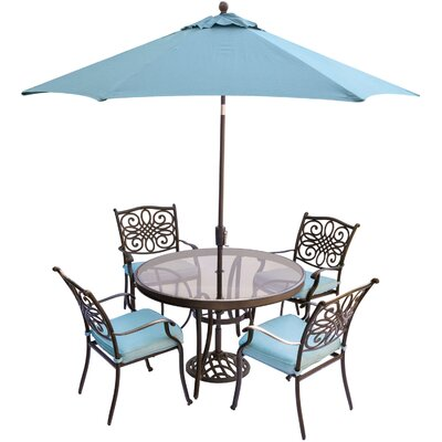 Barryton 5 Piece Aluminum Dining Set with Cushions Cushion Color: Blue