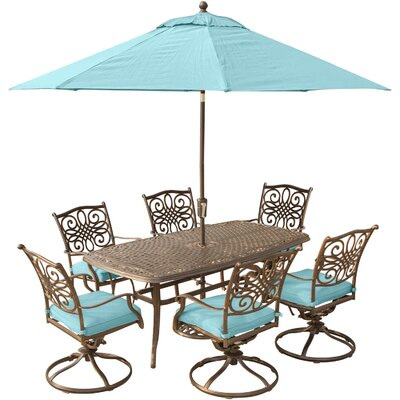 Barryton 7 Piece Dining Set with Cushions and Umbrella Stand