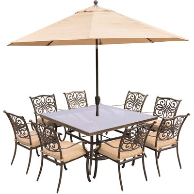 Barryton 9 Piece Square Dining Set with Cushions