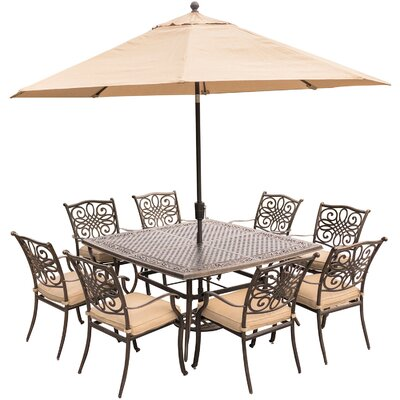 Barryton 9 Piece Metal Dining Set with Cushions