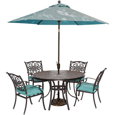 Swatzell 5 Piece Dining Set with Cushions