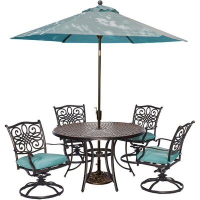 Barryton 5 Piece Swivel Dining Set with Cushions