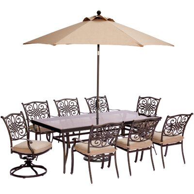Barryton 9 Piece Glass Top Dining Set with Cushions