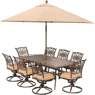 Barryton 9 Piece Oil Rubbed Bronze Dining Set with Cushions