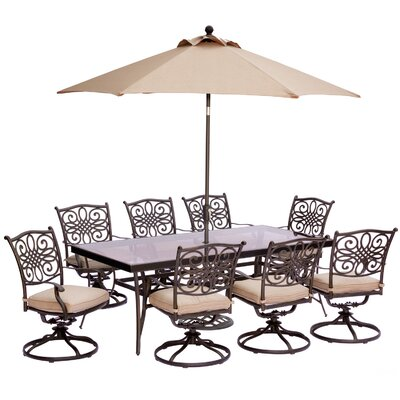 Swatzell 9 Piece Dining Set with Cushions