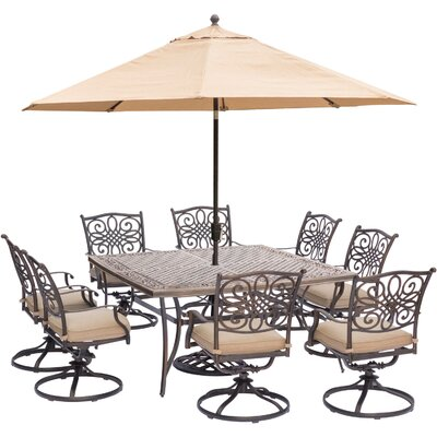 Barryton 9 Piece Square Metal Dining Set with Cushions