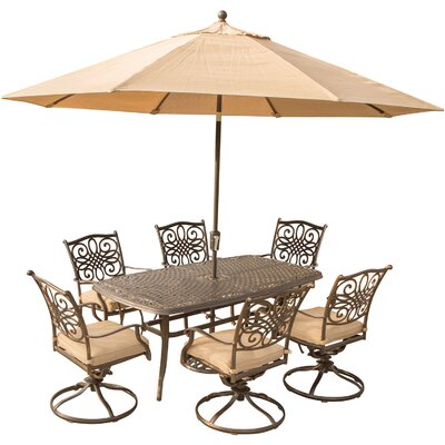Swatzell 7 Piece Dining Set with Cushions